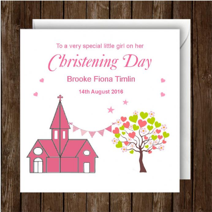 Personalised Christening Day Card Girl